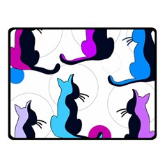 Purple abstract cats Fleece Blanket (Small)