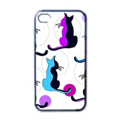 Purple abstract cats Apple iPhone 4 Case (Black)