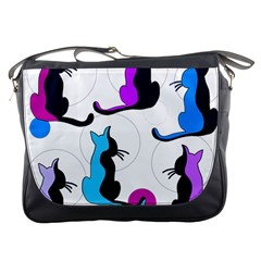 Purple abstract cats Messenger Bags