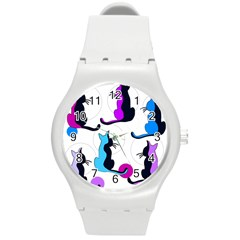 Purple abstract cats Round Plastic Sport Watch (M)