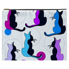 Purple abstract cats Cosmetic Bag (XXXL)
