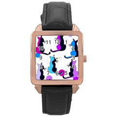 Purple abstract cats Rose Gold Leather Watch