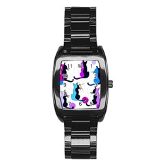 Purple abstract cats Stainless Steel Barrel Watch