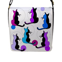 Purple abstract cats Flap Messenger Bag (L)