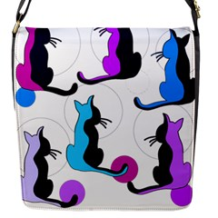 Purple abstract cats Flap Messenger Bag (S)