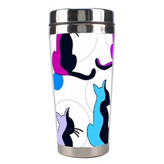 Purple abstract cats Stainless Steel Travel Tumblers