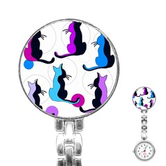 Purple abstract cats Stainless Steel Nurses Watch