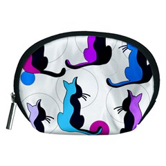 Purple abstract cats Accessory Pouches (Medium)