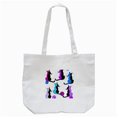 Purple abstract cats Tote Bag (White)