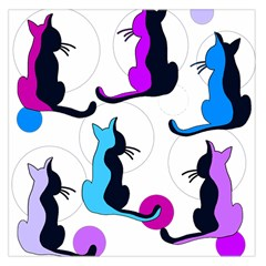 Purple abstract cats Large Satin Scarf (Square)