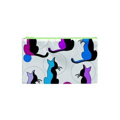 Purple abstract cats Cosmetic Bag (XS)