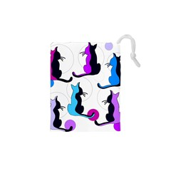 Purple abstract cats Drawstring Pouches (XS)