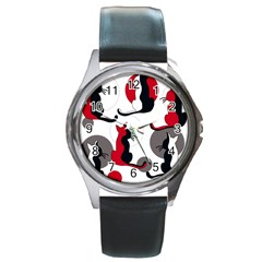 Elegant abstract cats  Round Metal Watch