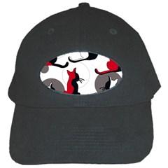 Elegant abstract cats  Black Cap