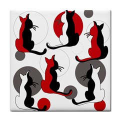 Elegant abstract cats  Tile Coasters