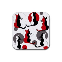 Elegant abstract cats  Rubber Coaster (Square)