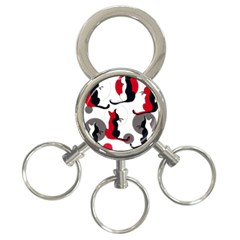 Elegant abstract cats  3-Ring Key Chains