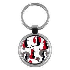 Elegant abstract cats  Key Chains (Round)