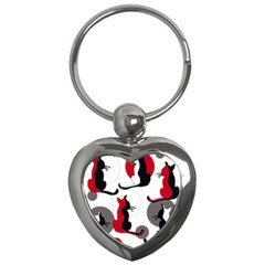 Elegant abstract cats  Key Chains (Heart)
