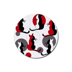 Elegant abstract cats  Rubber Round Coaster (4 pack)