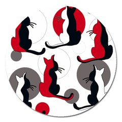 Elegant abstract cats  Magnet 5  (Round)