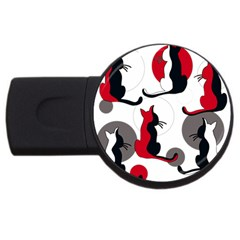 Elegant abstract cats  USB Flash Drive Round (1 GB)