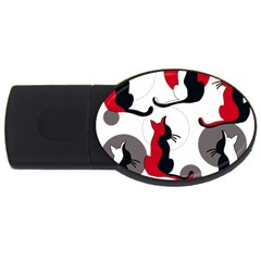 Elegant abstract cats  USB Flash Drive Oval (2 GB)