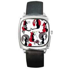 Elegant abstract cats  Square Metal Watch