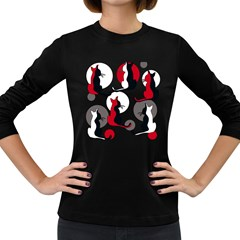 Elegant abstract cats  Women s Long Sleeve Dark T-Shirts