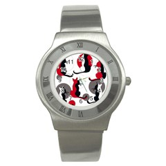 Elegant abstract cats  Stainless Steel Watch