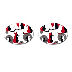 Elegant abstract cats  Cufflinks (Oval)
