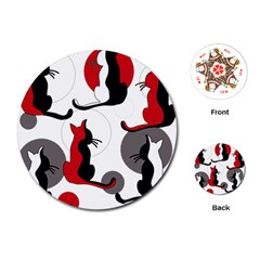 Elegant abstract cats  Playing Cards (Round)