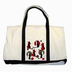 Elegant abstract cats  Two Tone Tote Bag