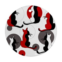 Elegant abstract cats  Round Ornament (Two Sides)