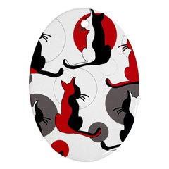 Elegant abstract cats  Oval Ornament (Two Sides)