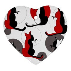 Elegant abstract cats  Heart Ornament (2 Sides)