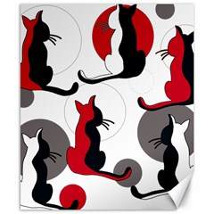 Elegant abstract cats  Canvas 8  x 10