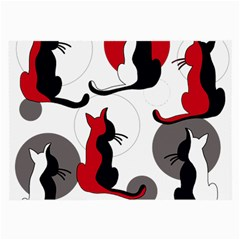 Elegant abstract cats  Large Glasses Cloth