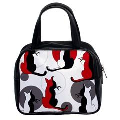 Elegant abstract cats  Classic Handbags (2 Sides)