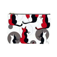 Elegant abstract cats  Cosmetic Bag (Large)