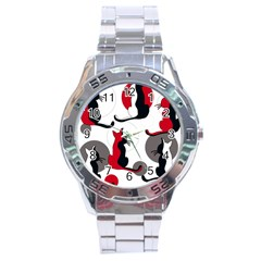 Elegant abstract cats  Stainless Steel Analogue Watch