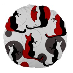 Elegant abstract cats  Large 18  Premium Round Cushions