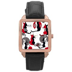 Elegant abstract cats  Rose Gold Leather Watch