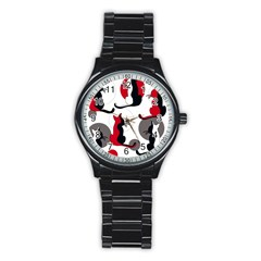 Elegant abstract cats  Stainless Steel Round Watch