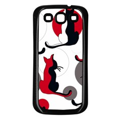 Elegant abstract cats  Samsung Galaxy S3 Back Case (Black)