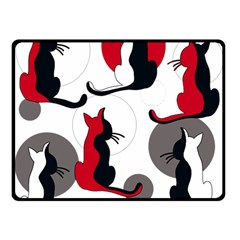 Elegant abstract cats  Double Sided Fleece Blanket (Small)