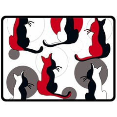 Elegant abstract cats  Double Sided Fleece Blanket (Large)