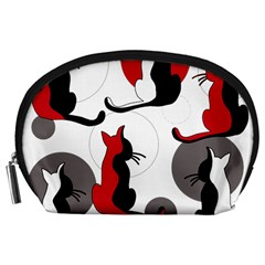 Elegant abstract cats  Accessory Pouches (Large)