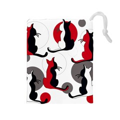 Elegant abstract cats  Drawstring Pouches (Large)