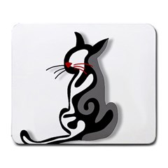 Elegant abstract cat  Large Mousepads